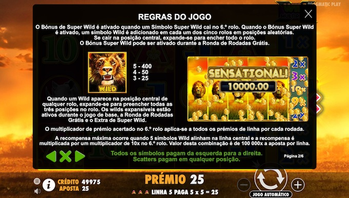 Regras da slot Hot Safari